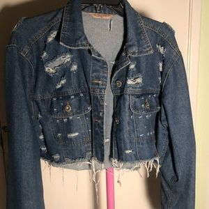 Jackets & Blazers - Very distressed cropped denim jacket